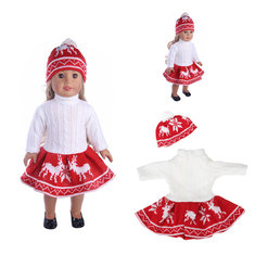 121725cc50d ... 18inch Doll Clothes For American Girl Doll Sweater+ Skirt + Beanie Hat  Without Reborn Baby