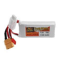 ZOP POWER 7.4V 1100mAh 75C 2S Lipo Battery With JST Plug XT60 Plug For RC Models