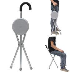 IPRee™ Outdoor Travel Folding Stool Chair Portable Tripod Cane Walking Stick Seat Camping Hiking