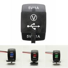 12V Dual USB Power Charger Socket W/ LED Voltmeter Voltage For Motorcycle Car Boat