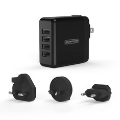 NTONPOWER DSP Plug in 4 Ports USB Charger for Smartphone Tablet Quick 2.4A Charging with EU AU UK Plug Travel Adapter