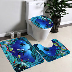3pcs Blue Ocean Bath Rugs Set Velvet Fabric Pedestal Mat Toilet Set Cover Carpet