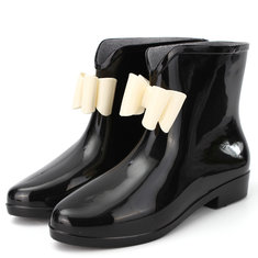 Bowknot Waterproof Slip On Ankle Rain Boots