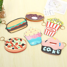 New Cute Funny Ice Cream Purse Students Kids Children Purse Hamburgers Cakes Pop Corn Pizza Donuts Key Coin Bag
