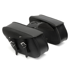 Pair PU Motorcycle Harley Universal Saddle Bags Cross Rider Panniers Tool Luggage