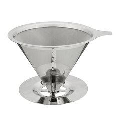 Stainless Steel Pour Over Coffee Dripper Reusable Double Mesh Coffee Maker Cone Filter