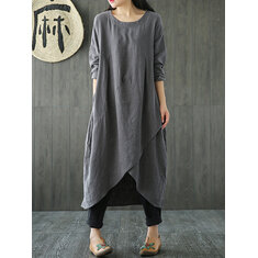 Women Pocket Irregular Maxi Dress
