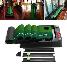 A Set of 2.5m Golf Putting Practice Training Mat with 6 Balls Return Indoor Outdoor