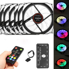 6Pcs RGB LED 366 Modes Quiet Computer Case PC Cooling Fan 120mm+Remote Control DC 12 V