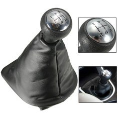 5 Speed Gear Shift Gaiter Knob For PEUGEOT 207 307 406 Black Chrome Leather