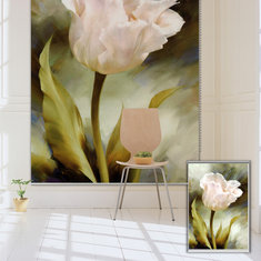 PAG Tulip Wall Decor Window Curtain Roller Shutters Flower Print Painting Roller Blind Background