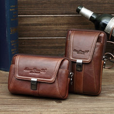 Men Crossbody Bag Genuine Leather Casual 5/5.5/6 Inches Phone Bag Waist Bag