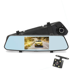 5 Inch 140 Degree View Angle 1080P Full HD Rear Mirror Car DVR Screen Touch Dual Lens Night Vision