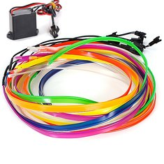 2M Flexible Car EL Wire Neon Light Dance Festival With Controller