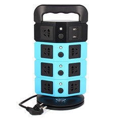 220-250V 2500W Vertical Power Strip 8 Way Outlet Power Board With 2 USB Charging Charger USB Socket
