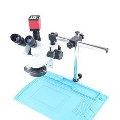 Simul-focal Continuous Zoom 7~45X Trinocular Stereo Microscope+HDMI/VGA Microscope Camera+56 LED Light+Universal Bracket+ Mat