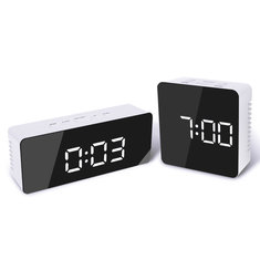Digoo DG-DM1 Wireless USB Mirror LED Digital Therometer Temperature Night Mode Black Alarm Clock