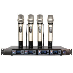 U-F4000 Professional UHF 4 Channel 4 Handheld Wireless LCD Display Home Karaoke Microphone System