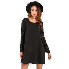 Casual Women Crochet Lace Hollow Out Long Sleeve Dresses
