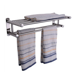 Double Chrome Wall Mounted Bathroom Towel Rack Stainless Steel Holder