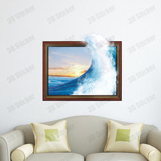 PAG STICKER 3D Wall Decals Ocean Wave Sea Wall Sticker Home Wall Decor Gift