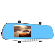 Winksoar 4.3 Inch 1080P HD Rear view Blue Mirror Dual Lens Car DVR Dash Cam Camera Recorder