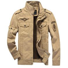 34b66a6e2ff Mens Epaulet Military Cotton Multi-pocket Stand Collar Coat