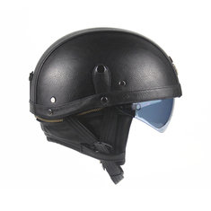 PU Leather Vintage Size Motorcycle Half Helmet With Sun Visor Detachable Collar For Harley