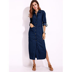 Long Sleeve Denim Shirt Dress Solid Color Turn-down Collar Button Dress