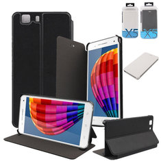 2-in-1 PU Leather Stand Case Cover+Glass Screen film For Doogee X5