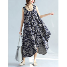 Vintage Women Sleeveless O-Neck Floral Printed Asymmetrical Dress