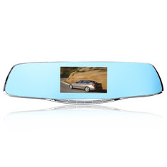 F2C Dual Lens 4.3 Inch HD 1080P Car DVR Recorder Rear View Mirror Dash Camera G-sensor