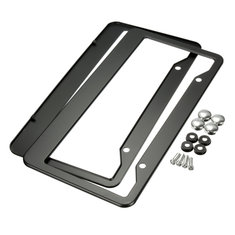2 Pcs Black Metal Stainless Steel License Plate Frames With Screw Caps Tag Cover
