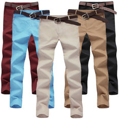 Men's Spring Summer Solid Color Casual Long Trousers Straight Pants