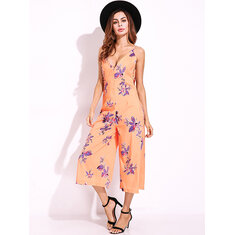 Sexy Women V-Neck Backless Flower Printed Jumpsuits