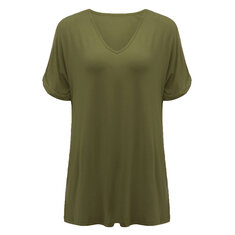 Women Loose Batwing Sleeve Pure Color V-Neck A-Line Blouse