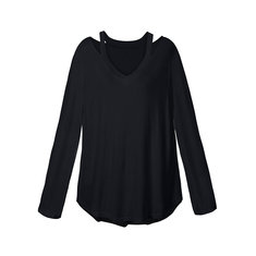Zanzea Casual Long Sleeve V-neck Off Shoulder Women Blouses