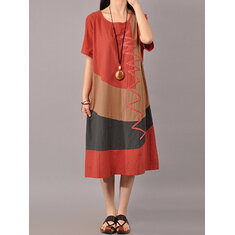 S-5XL Women Casual Splice Loose O-neck Mid Long Dress
