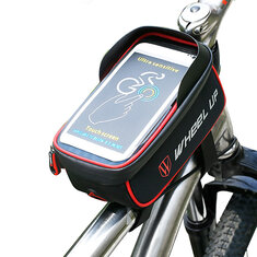 WHEEL UP Bicycle Touchscreen Front Frame Tube Cell Phone Waterproof Bag Bicycle Front Frame Case Holder Bag for iPhone 7/Plus,Samsung Galaxy S5/S4,LG,G3 and HTC Holds All Up To 6 inch Smartphones