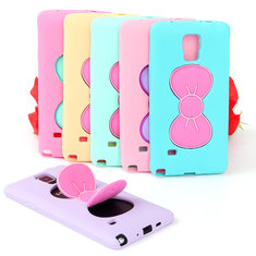 3D Cute Butterfly Bow Silicone Soft Cover Case Stand For Samsung Galaxy Note 4