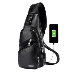 Men's Anti Theft Crossbody Bag USB PU Charging Shoulder Bag Camping Chest Waist Pack