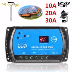 S10 PWM 12V/24V Auto LCD 10A 20A 30A Solar Panel Regulator Battery Charge Controller