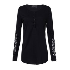 Women Long Sleeve Crochet O-neck Button Embroidery T-shirts