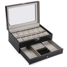 PU Leather Display Case Watches Storage Box Plastic Organizer for Jewelry Watch Accessories