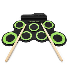 Digital Electronic Roll Up Drum Kit 7 Silicon Drum Pads USB Powered G7D4