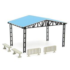 Model Layout Building Parking Shed With 2 Fences 2 Benches HO Scale 1:87 Kit
