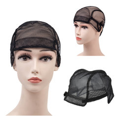 Wig Caps For Making Wigs Stretch Lace Weaving Cap Adjustable Straps Black