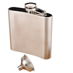 6OZ Stainless Steel Pocket Whisky Liquor 6 OZ Hip Flask With Funnel
