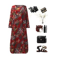 Floral Print Loose Casual Long Sleeve Maxi Dresses For Women