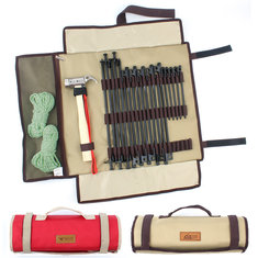 Outdoor Camping Tent Pegs Storage Bag Portable Tool Kit Accessories Folding Carry Pouch